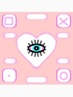 Eye heart pink Pattern, kawaii, lolita, harajuku by M-Lorentsson