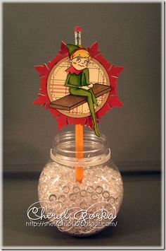 Elf on the Shelf pencil topper by Cheryl Gorka