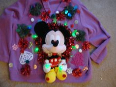 woman's 3x Deb's tacky ugly christmas sweater mickey mouse disney lights up purple by keriblue4 on Etsy
