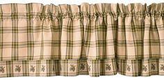 DIY Green Plaid Pinecone Curtain Valance Idea