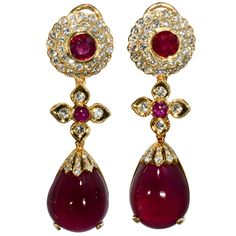 Ruby and Diamond Drop Earrings | From a unique collection of vintage drop earrings at http://www.1stdibs.com/jewelry/earrings/drop-earrings/
