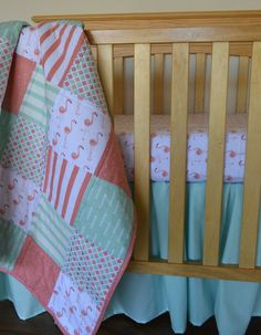 to get idea of how the colors work together Coral Pink and Mint Flamingo Crib Quilt/ by MadeWithLoveBedding