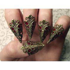 Bronze Dragon Claws // Nail Armor // Set of 5 ($18) ❤ liked on Polyvore featuring beauty products, nail care, nail treatments, nails, accessories, jewelry, backgrounds and makeup