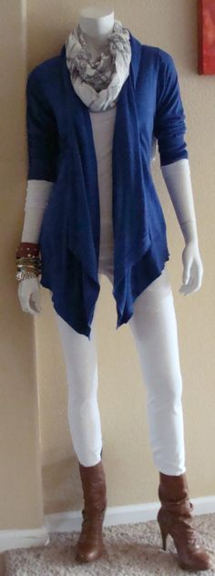 Daily Look: CAbi Spring '14 Indie Jean, Chelsea Topper, Simple Cami in white and Flower Graph Scarf with last spring's Sheer Tee.  It is chilly today, so transitional boots cozy up this look.