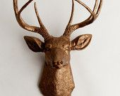 Faux Deer Head - The Bennett - Bronze Resin Deer Head- Stag Resin Bronze Faux Taxidermy- Chic & Trendy