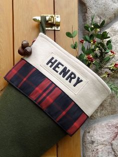 Balsam Personalized Christmas Stockings with Cabin Plaid Ribbon by annieswoolens on Etsy https://www.etsy.com/listing/163636230/balsam-personalized-christmas-stockings