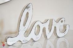 Hand painting - Vintage Wood Sign  - Shabby Chic – Love  http://www.dreammachineworks.com/?portfolio=shabby-chic-love
