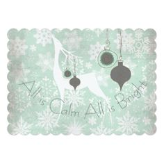 All is Calm All is Bright Deer Holiday 5x7 Paper Invitation Card. This deer holiday card is part of a suite that includes matching postage stamps, return address labels, stickers, envelopes, binders, and more.