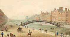 Watercolour drawing of Dublin's Ha'penny Bridge by Samuel Frederick Brocas. Image courtesy of National Library of Ireland Old Pictures, Old Photos, Another Green World, New York Canvas, Photo Engraving, Watercolor Drawing, Dublin Ireland, Paris Skyline, Past