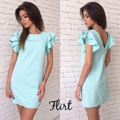 Shapes for dresses with ruffles on the shoulders – Casual Dress Outfits Simple Dresses, Cute Dresses, Casual Dresses, Short Sleeve Dresses, Summer Dresses, I Dress, Dress Outfits, Fashion Dresses, Girl Fashion