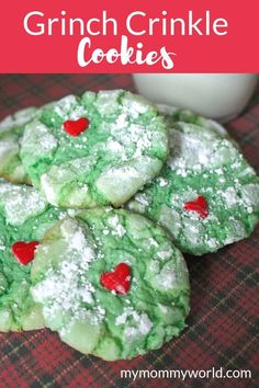 grinch cookies These easy to make Grinch Crinkle Cookies are perfect for your Christmas cookie tradition. This recipes uses a cake mix, which is great for kids that are just learning ho Christmas Cookies Kids, Grinch Christmas, Christmas Snacks, Cake Mix Cookies, Christmas Cooking, Holiday Cookies, Holiday Treats, Holiday Recipes, Christmas Recipes