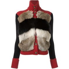 Red Valentino fur detail cardigan (€1.535) ❤ liked on Polyvore featuring tops, cardigans, blue, brown tops, colorful tops, multi color tops, red valentino and multi color cardigan