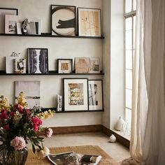 Mosslanda Picture Ledge, Ikea Picture Ledge, Picture Ledge Bedroom, Picture Frames On Shelves, Black Frames On Wall, Photo Ledge Display, Picture Frame Shelves, Picture Walls, Display Shelves
