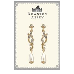 Downton Abbey® Boxed Gold-Tone Simulated Pearl & Crystal Drop Earrings