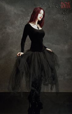 Cosette Dress in Velvet and Layered Tulle - Custom Elegant Gothic Clothing and Dark Romantic Couture