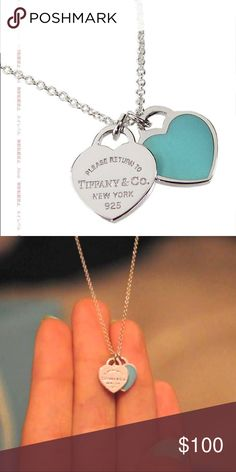 Double heart Tiffany necklace Worn max 5 times.... perfect condition. My ex-boyfriend got this for me so I am trying to get rid of it😅 Tiffany & Co. Jewelry Necklaces