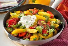 Einfach Lecker » Kartoffelspalten mit Cabanossi » Finden Sie leckere Rezeptideen für jeden Tag, die Ihnen das tägliche Kochen leichter machen. » Einfach Lecker