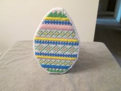 Easter Egg Covered Basket in Plastic Canvas by CraftsforSalebyJune on Etsy