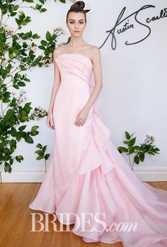 "Brides.com: . ""Trillium"" silk basket-weave gazar wedding dress with sculpted spiraling ruffle back and train, Austin Scarlett"