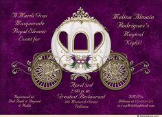 masquerade princess bride shower invitation royal mardi gras