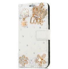 Galaxy S6 - Royal Crown / Love Rhinestone Flip Wallet Case in Assorted Colors