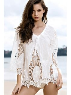 Plunging Neck White Isabel Crochet Blouse #womensfashion #pinterestfashion #buy #fun#fashion