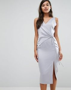 """Lavish Alice Satin Wrap Tie Midi Dress PRODUCT DETAILS Midi dress by Lavish Alice Smooth satin V-neck Wrap front Self-tie fastening Slim fit - cut close to the body Hand wash 100% Polyester Our model wears a UK 8/EU 36/US 4 and is 175cm/5'9"""" tall PRODUCT CODE 990900 $88 ASOS Wedding"""