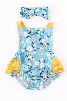 Teal floral baby bubble with headband 95% cotton 5% spandex