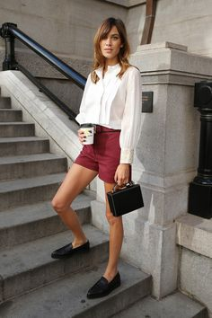 Alexa Chung: shorts, brogues and white button up