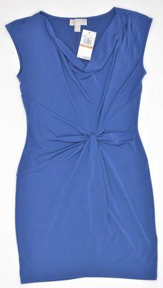 Women's MICHAEL KORS Drape Neck Sleeveless Dress Atlantic Blue QU68E53C76 XL 16