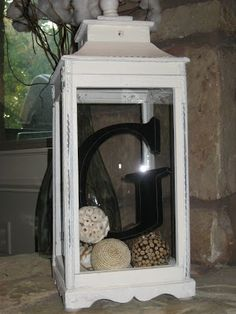 Wood Letter in Lantern, Great detail. Hmm, good idea for one of my lanterns! fireplace decor Whitney's Lantern Makeover ~ A Weekend Whatnot Do It Yourself Furniture, Lanterns Decor, Porch Lanterns, Decorative Lanterns, Decorating With Lanterns, Diy Décoration, Fun Diy, Wood Letters, My New Room