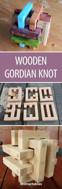 """Wooden Gordian Knot: I was visiting my little nephew a while back and he was playing with a plastic Gordian Knot. I thought, """"wouldn't it be cool to make a wooden one!"""" So the wooden Gordian Knot was born. Woodworking Projects For Kids, Popular Woodworking, Custom Woodworking, Diy Wood Projects, Woodworking Crafts, Woodworking Plans, Wood Crafts, 3d Puzzel, Wood Games"""