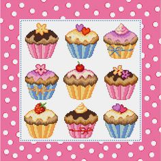 Cupcakes Cross Stitch Pattern by CrossStitchSusie on Etsy