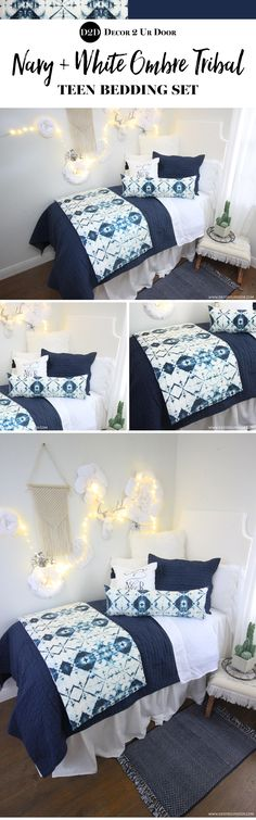 This ombre tribal dorm bedding is TIE-DIE for! Clear as crystal and blue as the . This ombre tribal dorm bedding is TIE-DIE for! Clear as crystal and blue as the deep blue sea. Preppy Dorm Room, Boho Dorm Room, Dorm Room Headboards, Dorm Room Bedding, Blue Bedding, Teen Bedding Sets, Comforter Sets, Dorm Bed Skirts, Teen Room Makeover