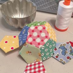 Making a hexie pincushion. (From Lori Holt's instagram)