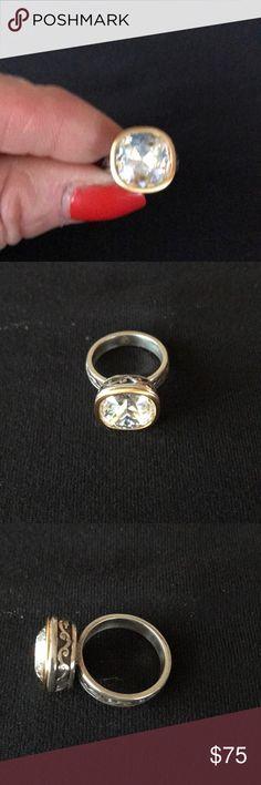 Silpada SS ring with gold Silpada SS Ring with gold around the crystal Filigree Silpada Jewelry Rings