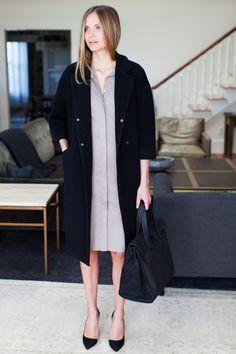 Drop Shoulder Coat - Jet Wool | Emerson Fry