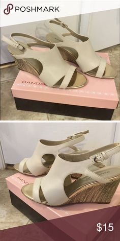 Hot cute Bandolino Wedges Wore twice no box, size 8, cream leather with mixed media wedge in bronze brown and cream wedge no make s or damage, adjustable strap Bandolino Shoes Wedges