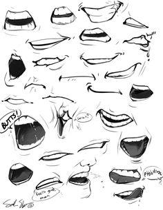Desenhos, Mangá, Anime, Bocas, 28 Designs, Para Melhorar O Seu Desenho.