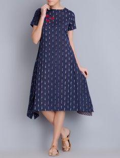 Indigo Embroidered Asymmetrical Ikat Cotton Dress