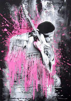 Brainwash (French, b. Jimi Hendrix (Pink), 2015 Screenprint on hand torn archival paper 30 x - Available at 2018 June 7 Urban Art Internet. Jimi Hendrix Purple Haze, Jimi Hendricks, Mr Brainwash, Guitar Posters, Concert Posters, Street Art, Marc Chagall, Fine Art Auctions, Silk Screen Printing