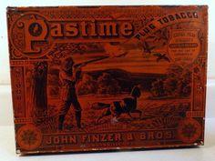 "Antique Tin Litho PASTIME Plug Tobacco 9x12x4"" Store Display Tin Box c1890s"