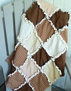 Photography Prop Modern Rag Quilt  Brown Cream by modernragquilts, $55.00