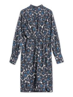 Dress in poplin with Point Grasses print