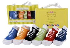 """6 pack of """"sneaker"""" socks in cheerful bright colors.  These cute socks look like tiny athletic shoes.  Fits up to 12 months.   $20 from www.mybabypeanut.com"""