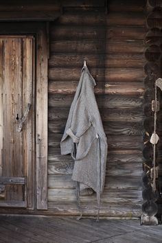 Linen Bathrobe, via Fine Little Day, by Anu Leinonen and Lapuan Kankurit Oy. Spa Sauna, Outdoor Sauna, Finnish Sauna, Mountain Living, Cabins And Cottages, Cabins In The Woods, Line Design, The Ranch, Decoration