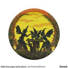 Halloween paper party plates, witches tea party