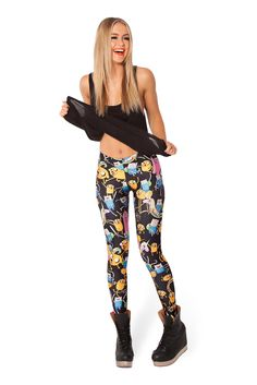 Adventure Time Montage Black Leggings – Black Milk Clothing - M Black Milk Clothing, Dance Leggings, Women's Leggings, Black Leggings, Cheap Leggings, Cheap Pants, Style Cowgirl, Adventure Time, Jeggings