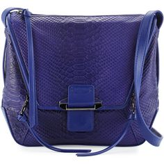 Kooba Gwenyth Leather Cobra-Print Crossbody Bag ($132) ❤ liked on Polyvore featuring bags, handbags, shoulder bags, cobalt, blue leather handbags, blue leather shoulder bag, leather crossbody purses, genuine leather handbags and embossed leather handbags