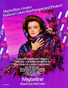BRIT HAMMER  Maybelline Ad  1983 - Many ads from the 80's used white backgrounds but this one is a cool bright purple!